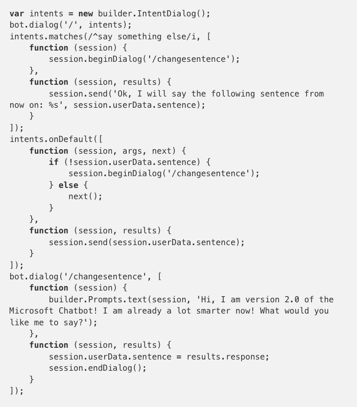Writing a basic chatbot using Microsoft Botbuilder and LUIS